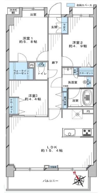 ライオンズガーデン府中武蔵野台(405)の間取り画像