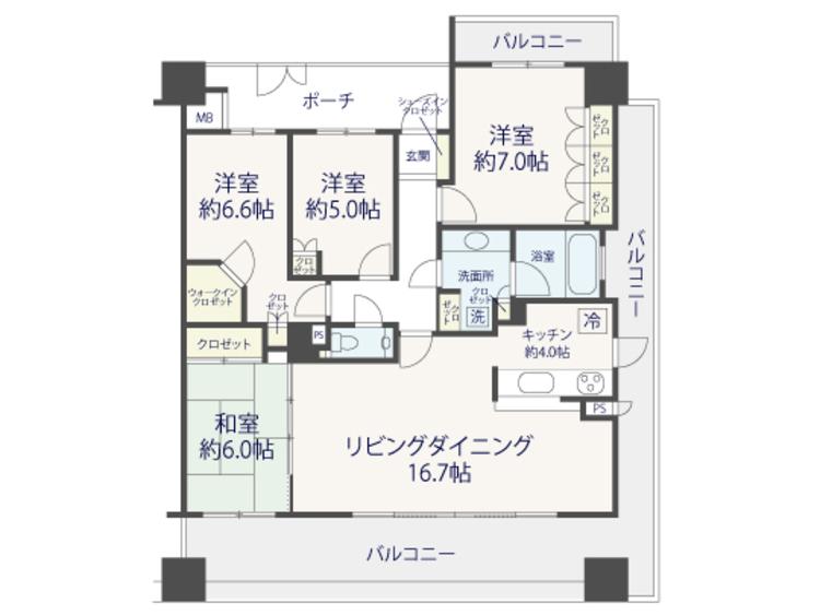 4LDK×リノベ■クレッセント武蔵小杉GRANDAYS参番館【renovation】の間取り画像