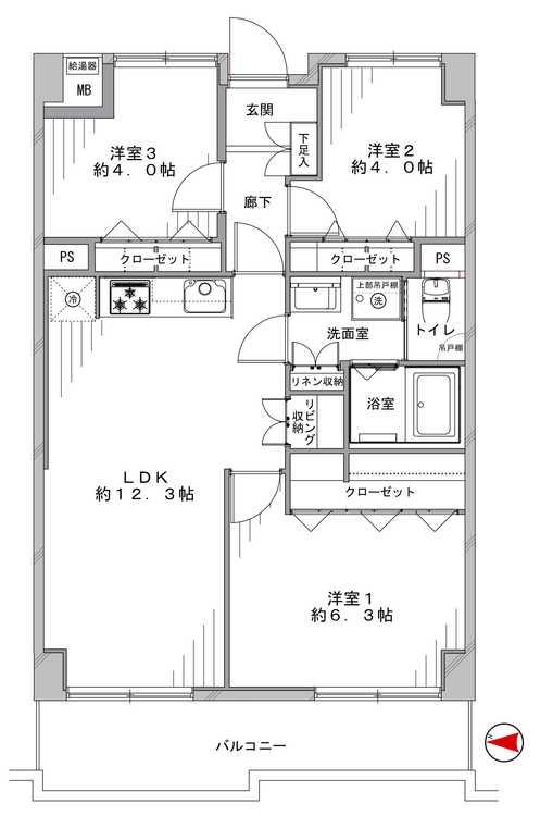 竹の塚ハイツ(403)の間取り画像