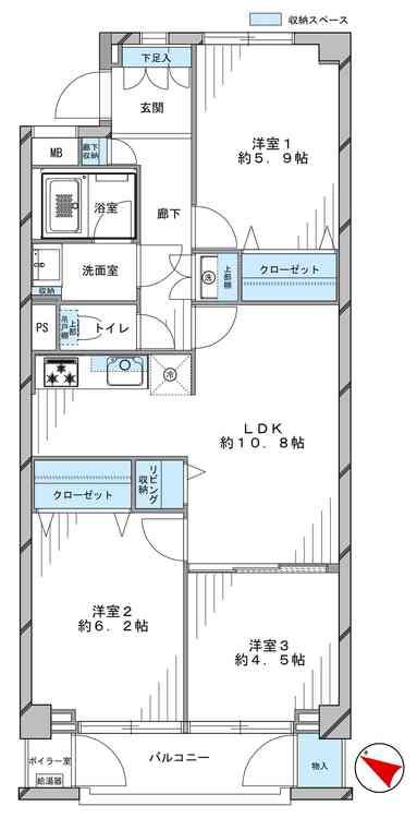 狛江ハイタウン1号棟(1012)の間取り画像