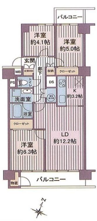 【ファミリー向け】千葉県市川市幸1丁目【リノベ物件】の間取り画像