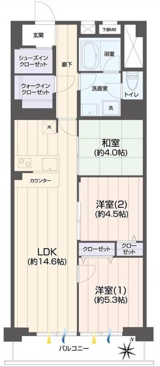 【南東向き♪】市川市香取2【新規リノベ物件】の間取り画像