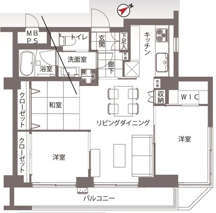 【通勤通学に便利♪】築地2丁目のホテルライクな新規リノベーションマンション!の間取り画像