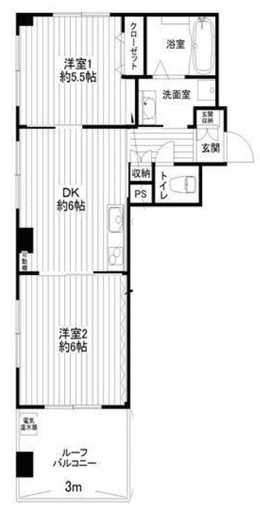 【南向き角部屋物件♪】日本橋箱崎の新規リノベーション済みマンション!の間取り画像