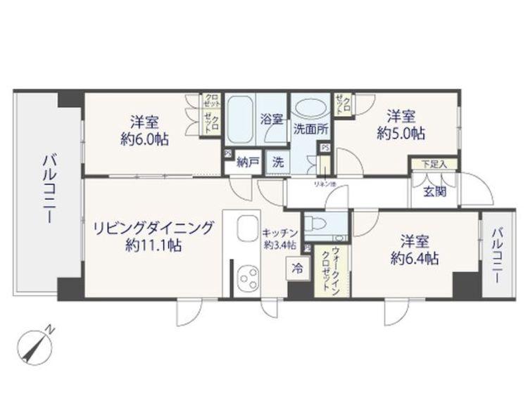 【クレヴィア駒沢大学】H24年築~スタイリッシュモダンなマンション~南東角部屋の間取り画像
