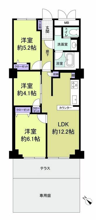 横浜山手センチュリーマンション(108)の間取り画像