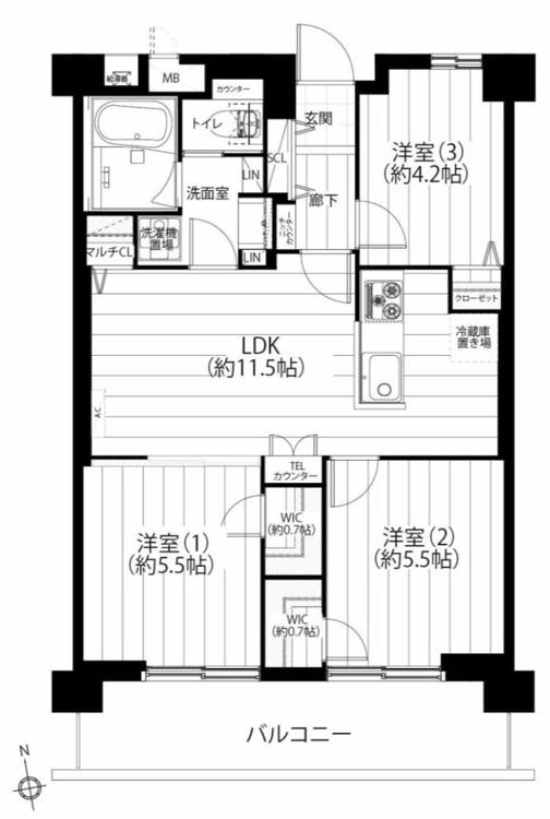 【家具付き!南向き4階!】宇喜田住宅の間取り画像