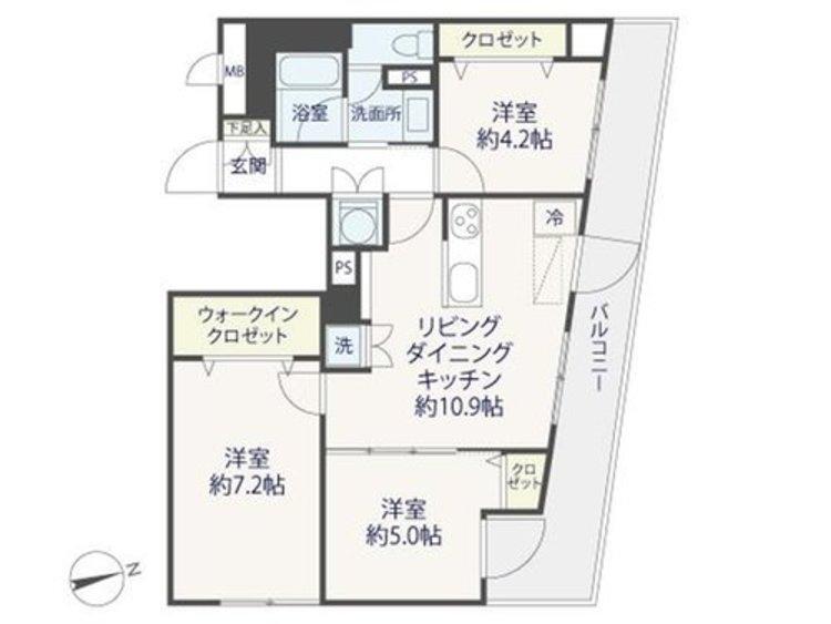 4階角部屋の開放感♪ライオンズマンション多摩川六郷【reform】の間取り画像