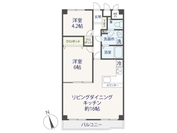 スカイパーク多摩川~9階部分、内装リノベーション済みのお部屋~の間取り画像