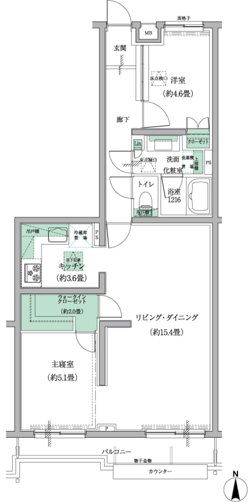 2LDK、価格6368万円、専有面積64.81m2、バルコニー面積6.19m2