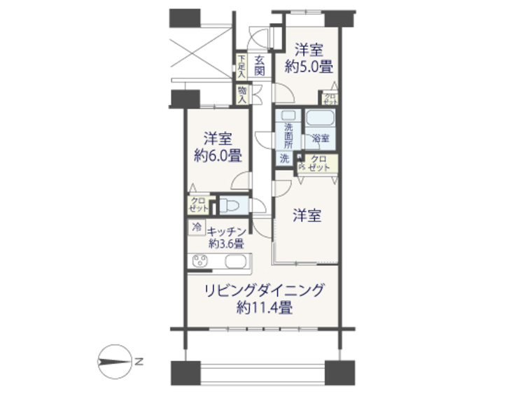 ペットと住める♪総戸数374戸■パークスクエアネオス横浜【reform】の間取り画像