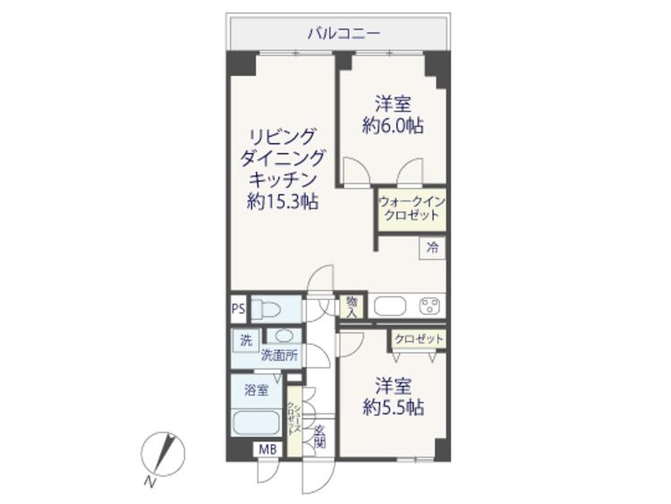 リフォーム完了♪WIC付『朝日石川台マンション』の間取り画像