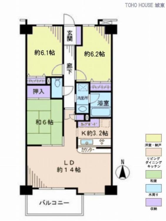 ライオンズマンション東葛西2番館(2F)の間取り画像