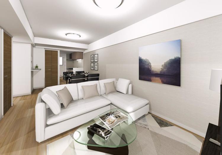ワイドなLDは、開放的な上質空間を演出。大きめの家具もゆったりレイアウトできる