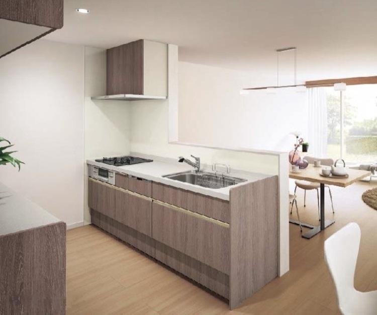 ドアポケットなど通常はオプションでつけるものを標準装備した、ハイグレードなキッチン