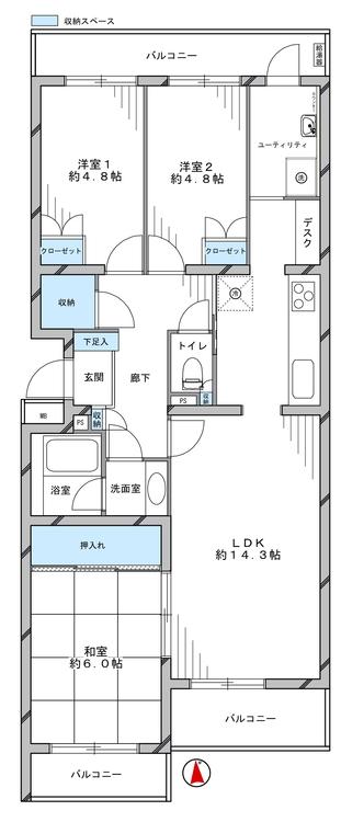 藤和ライブタウン中山3号棟(402)の間取り画像