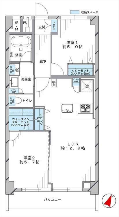 秀和東十条レジデンス(509)の間取り画像