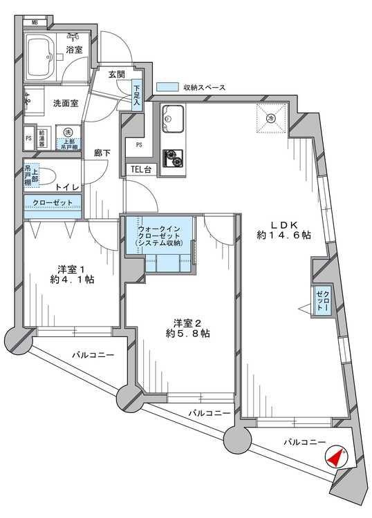 中銀第3目黒マンシオン(901)の間取り画像